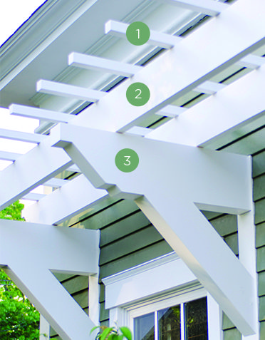 Wall Pergola has the same elegant design asthe original Trex Pergola, and can be custom manufactured to fit over just about any entryway or window on your home.  Whether you're looking to add some dimension to the front of your garage or a little shelter while you pause to unlock your door, Wall Pergola