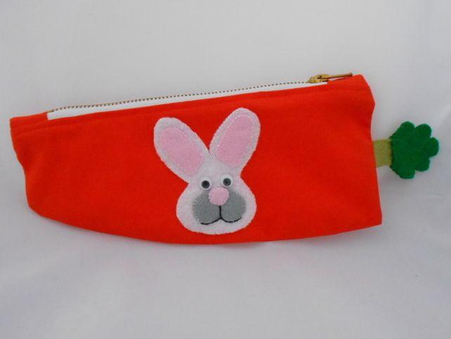 Rabbit - Pencil Case - Carrot shaped Pencil case - Lined with Applique Rabbit £8.50