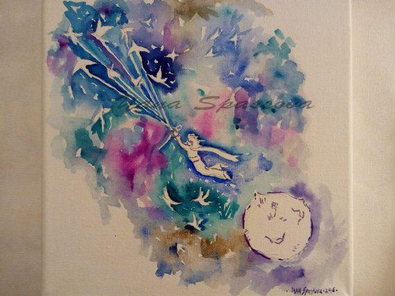 ¡Nuevo! Pintura de Le Petit Prince-The poco Príncipe Original arte moderno arte Kids salón arte-acuarela por Yana Spassova