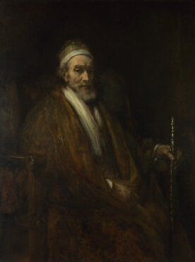 This impressive portrait, dating from the last decade of Rembrandt's life, depicts the extremely wealthy Dordrecht merchant Jacob Trip.  The portrait dates from the year of Jacob's death; nightcap, dressing gown and walking stick suggest frailty. The portrait has less vitality than the companion portrait of his wife, Margaretha de Geer, and it is conceivable that it was painted posthumously.