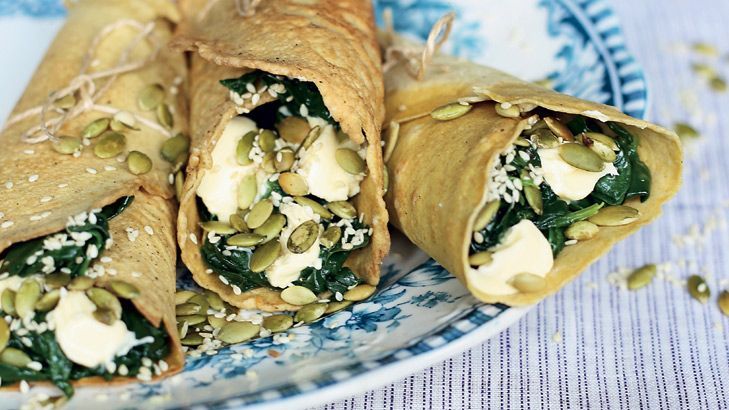 Almond flour crepes with ricotta, wilted greens (kale if you like!) and toasted seeds, from My Petite Kitchen.