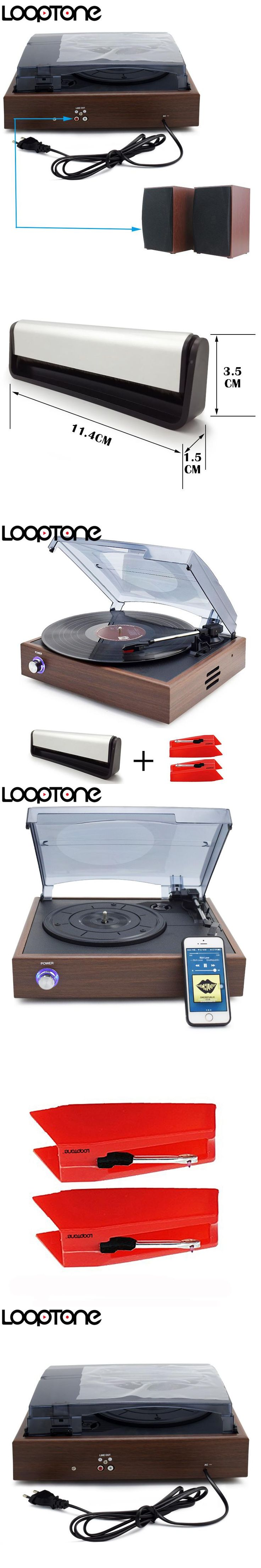 LoopTone Bluetooth Vinyl LP Record Player Kit Turntable Players +2PCS Sapphire Tipped Ceramic Needles Stylus+Cleaning Brush