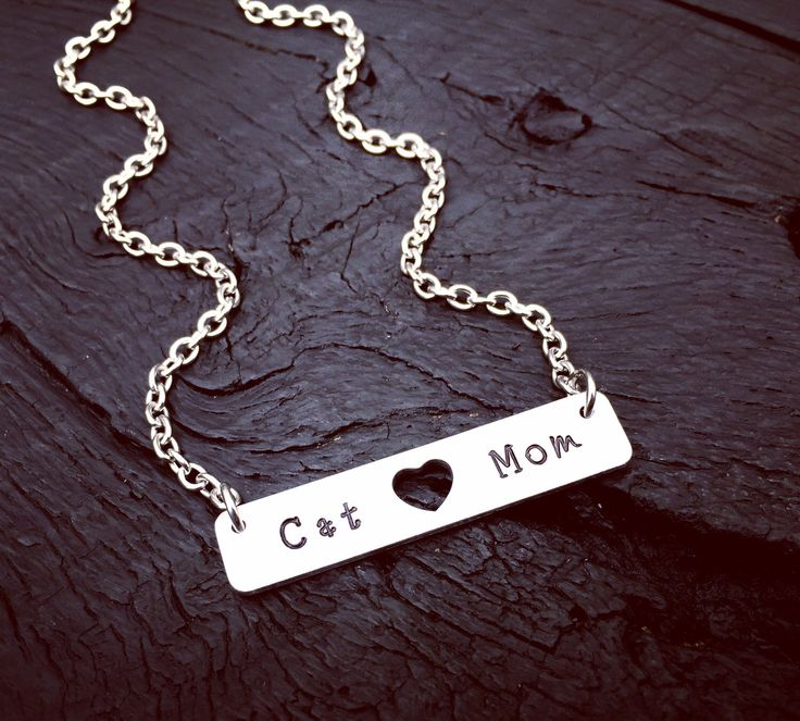 Cat Mom Bar Necklace | Cat Mom Jewelry | Gift For Cat Lover | Crazy Cat Lady Necklace | Cat Rescue | Cat Foster Mom Jewelry | Cat Transport by SecretHillStudio on Etsy https://www.etsy.com/listing/510959259/cat-mom-bar-necklace-cat-mom-jewelry