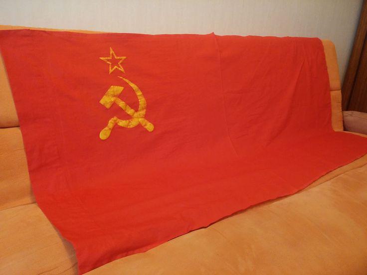 USSR Flag Banner BIG HUGE Soviet Union RARE VINTAGE ORIGINAL 1981 ~ 160 X 80 ORG