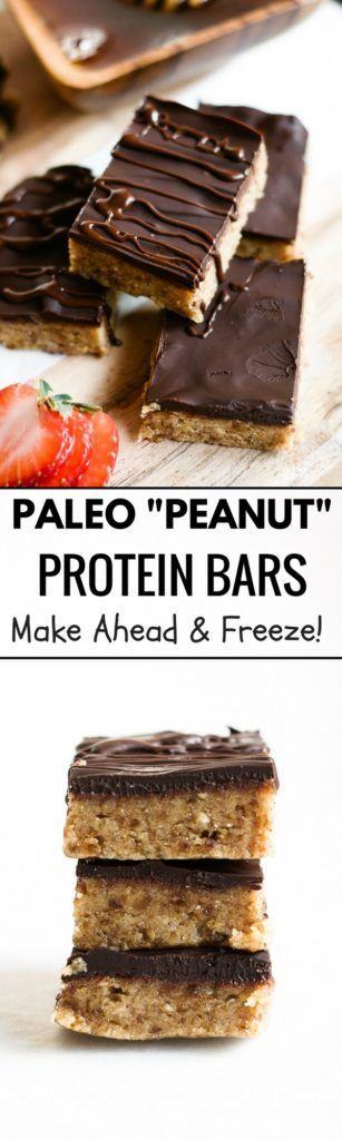 "paleo ""peanut butter"" protein bars made with NO peanut better. Completely paleo, gluten free, and totally delicious! This easy to make snack can be made a head of time and stored in the freezer."