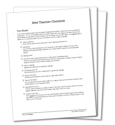 The New Teacher Checklist   Cult of Pedagogy
