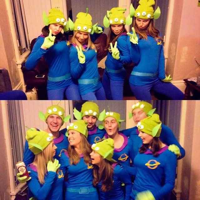 Pin for Later: Ghouls Gone Wild! 60 Creative Girlfriend Group Costumes Toy Story's Little Green Men