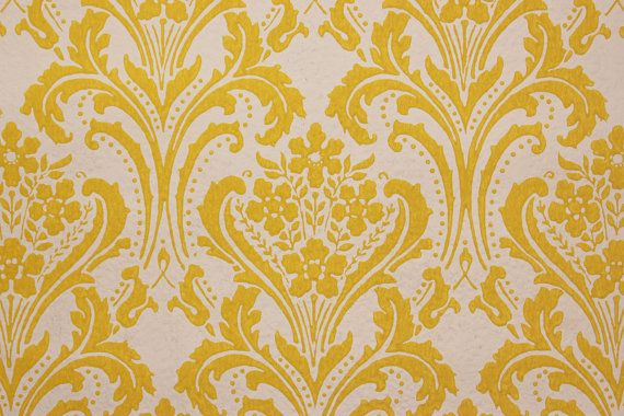 1960 vintage Wallpaper Damas jaune sur blanc