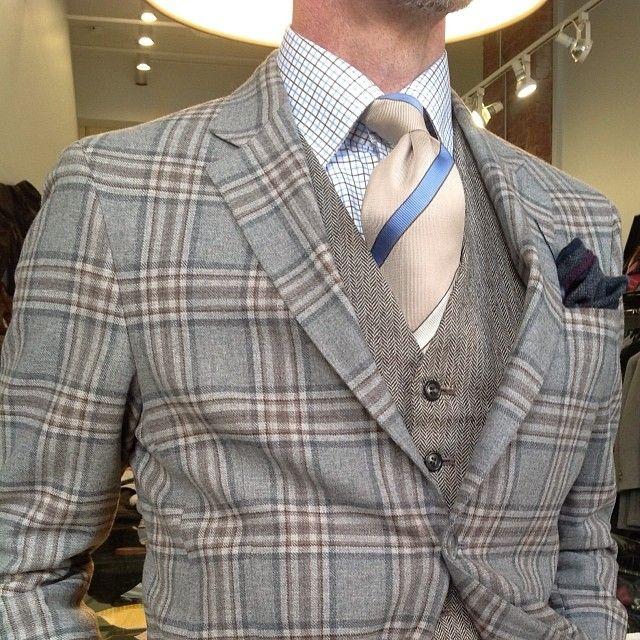 menneedmorestyle: Check (s me out). Blue/light brown/Beige. Cashmere/tweed/cotton/silk…