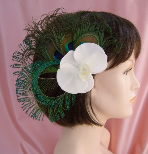 Orchids and Peacock Feather Wedding Bridal Head-Dress