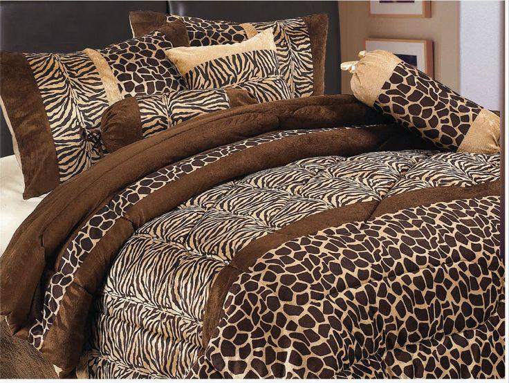 Amazon.com: 7 Piece Safari - Zebra - Giraffe Print Brown Micro Fur Comforter Set, Bed in Bag, Queen Size: Home & Kitchen