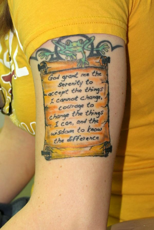 I wouldn't get this tattoo but I do want a frog tattoo and a serenity prayer tattoo so this is cool!
