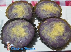 Ube Bibingka Ingredients  3/4 cup rice flour 1/2 cup all purpose flour 1/4 cup sugar 1 tsp baking powder 1/4 tsp salt 2 large eggs 1/2 cup coconut cream 1/2 tsp ube flavoring 1/2 cup grated cheddar cheese