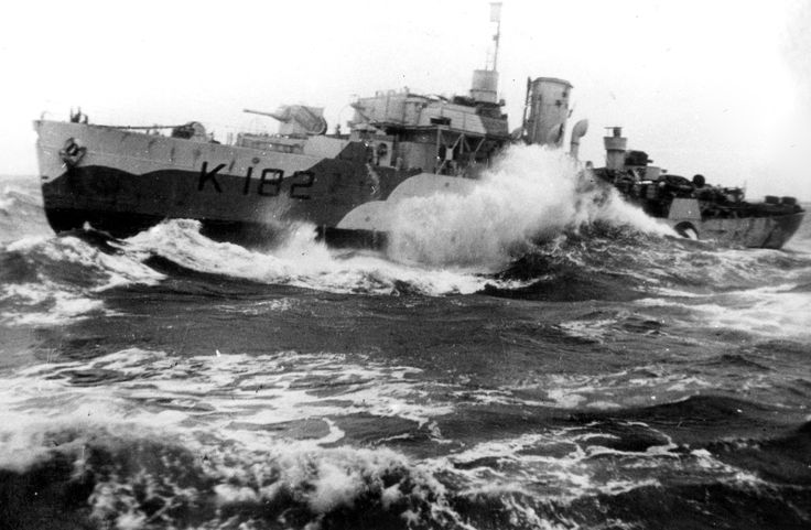 "Canadian Royal Navy corvette ""Bittersweet"" (K182) cuts a course in rough seas. Built in the UK, she was transferred to Canada in Jan 1941. Her main wartime mission was convoy escort in the North Atlantic.She was retired from the Canadian fleet in 1945 and returned to the UK."