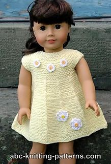 American Girl Doll Garter Stitch Summer Dress pattern by Elaine Phillips