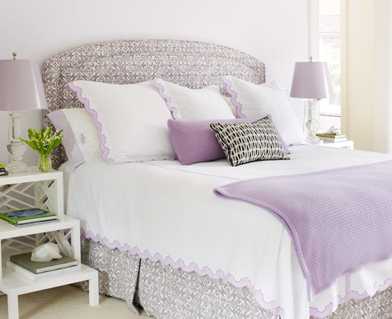 #lavender #bedroom #fabric #headboard