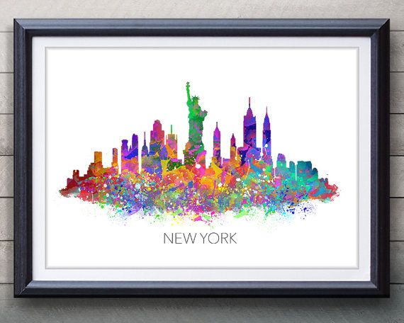 New york skyline watercolor art poster print wall decor watercolor wall art artwork watercolor painting illustration home decor