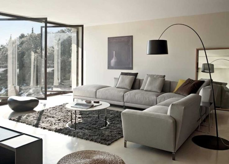 Grey Sofa Living Room Design Ideas with black arch floor lamp feat large glass windows