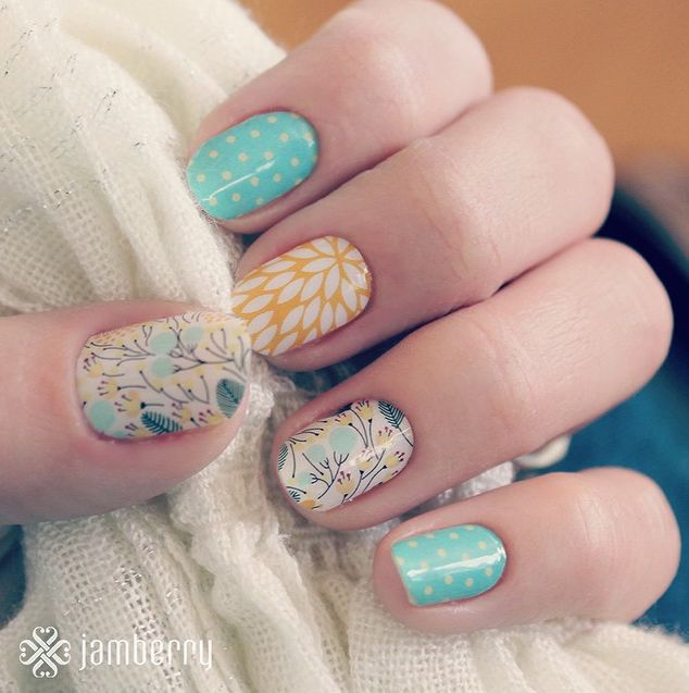 Regram from Jamberry Nails...love when fan great nail wrap combinations like this!  Shop more beautiful looks and make your own nail wraps combinations on my Jamberry Nails Independent Consultant site: http://liz957.jamberrynails.net/