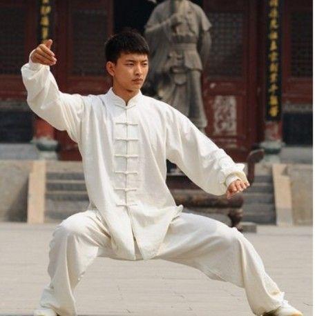 White Linen Taichi Clothing,Long Sleeve Martial Arts Uniforms