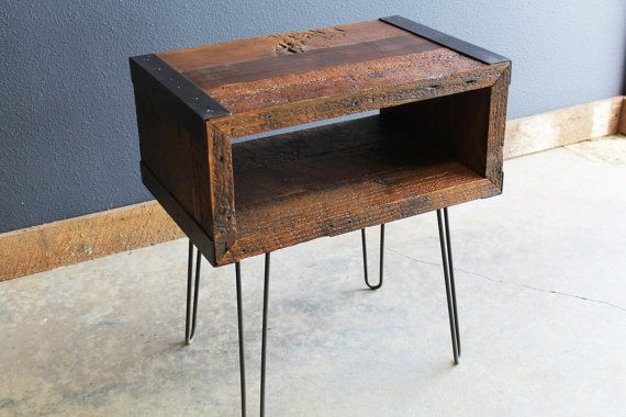 Industrial End, Side Table, TV Stand from Old barnwood with hairpin legs - Etsy  $279  24""