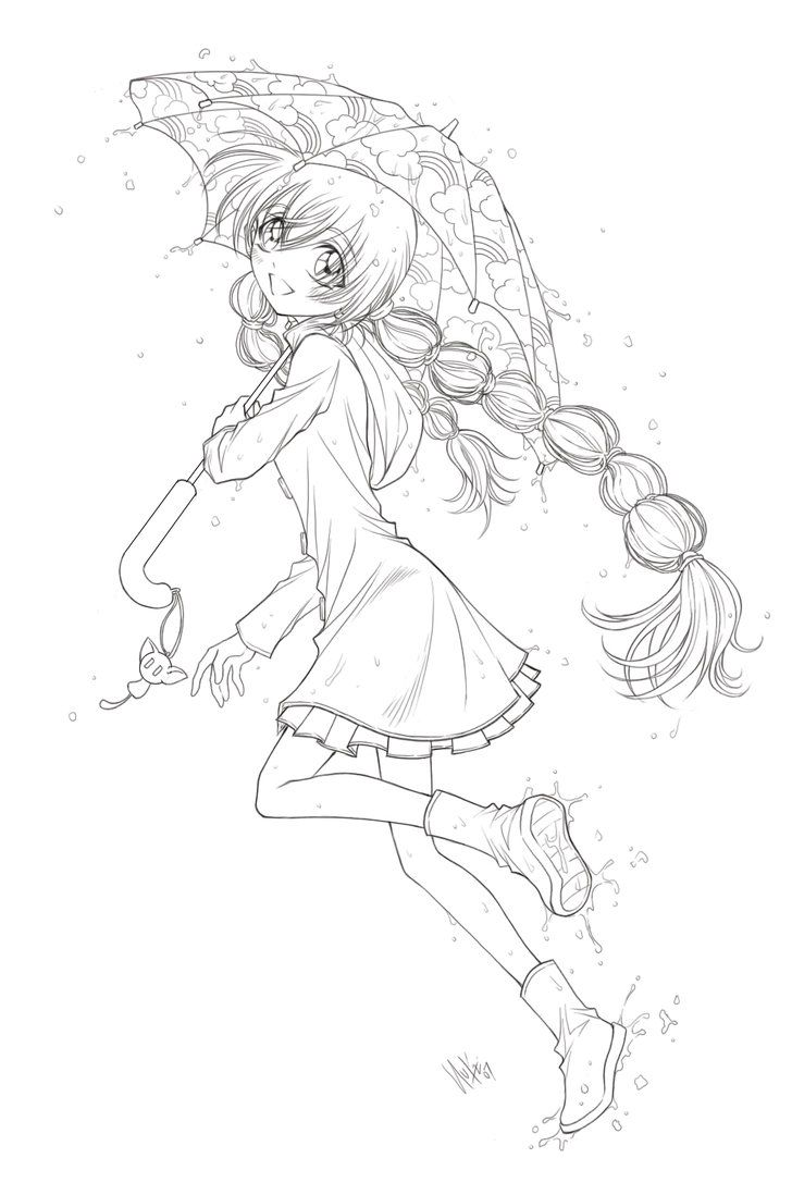 Free printable coloring pages of umbrellas - Cute Anime Coloring Page