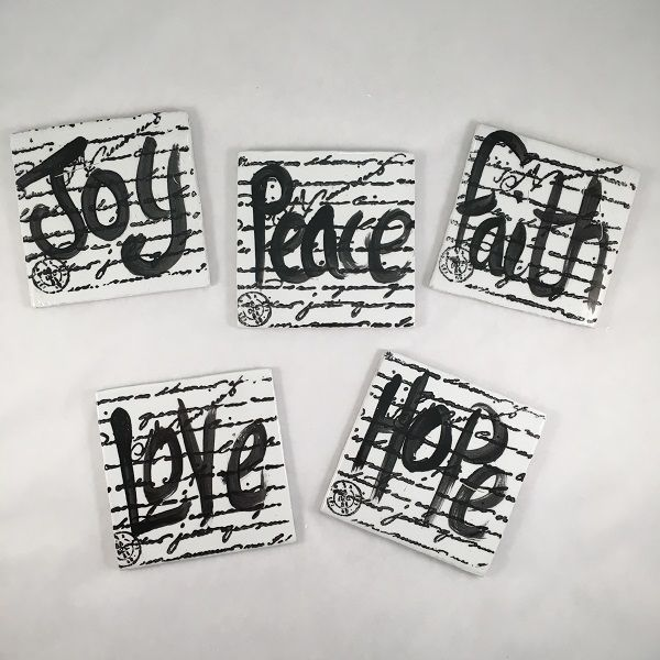 MOSAIC TILES - JOY, HOPE, LOVE, FAITH, PEACE on Script - Mosaic Inspiration - Mosaic Inserts, Mosaic Tiles, Ceramic Mosaics - www.mosaicinspiration.com