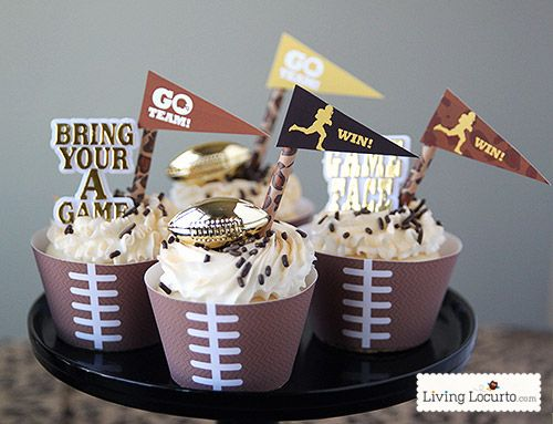 Free Printable Football Cupcake Wrappers. Perfect for any Football Themed birthday, Super Bowl or Fantasy Football Party.  LivingLocurto.com