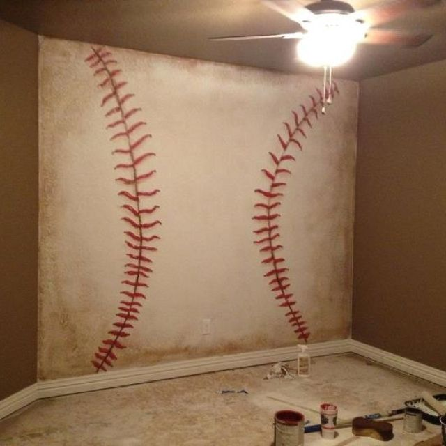 Baseball wall. This would be soooooo cool to do with like a basketball or soccer ball or whatever! So cute for a little boys room!