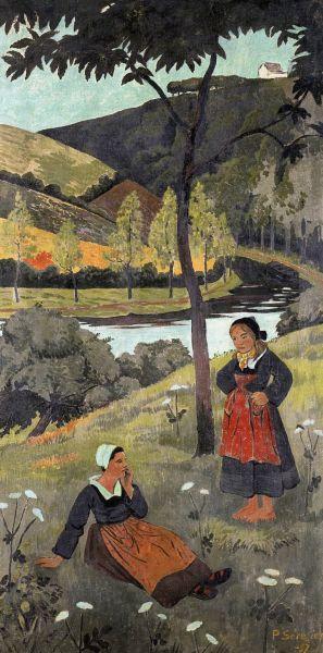 """Paul Serusier (Fr. 1864-1927) ~  """"Deux bretonnes au bord de l'Aulne"""" ~ 1897, huile sur toile, 150,5 x 75 cm"""