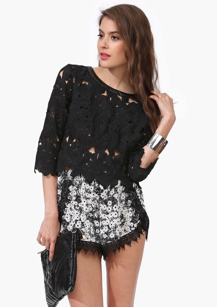 Karlie Crochet Top black, love the shorts too ♥