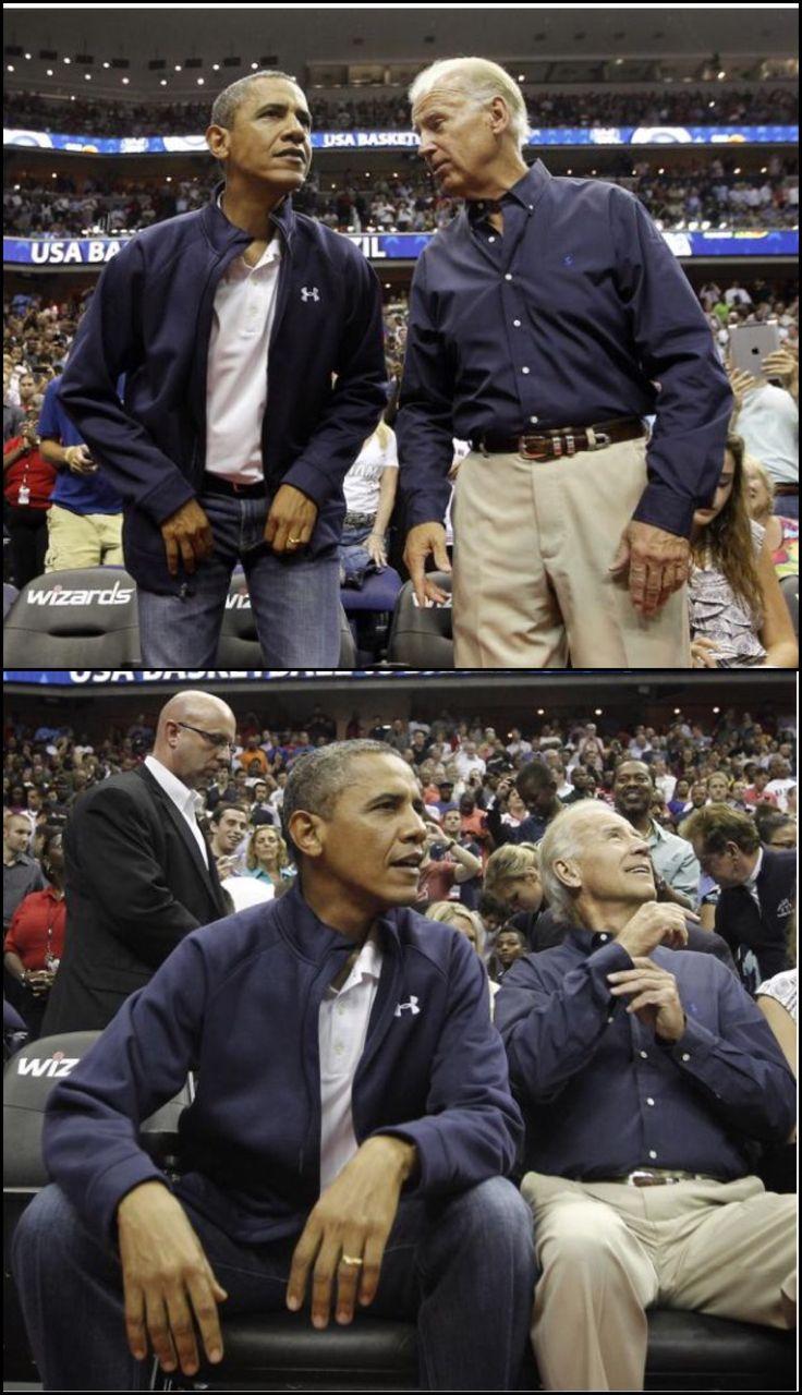 #44thPresident #BarackObama and #VicePresident #JoeBiden attended an Olympic men's basketball exhibition game between Brazil and Team USA in Washington, July 16, 2012 #ObamaLegacy #ObamaLibrary #ObamaFoundation Obama.org