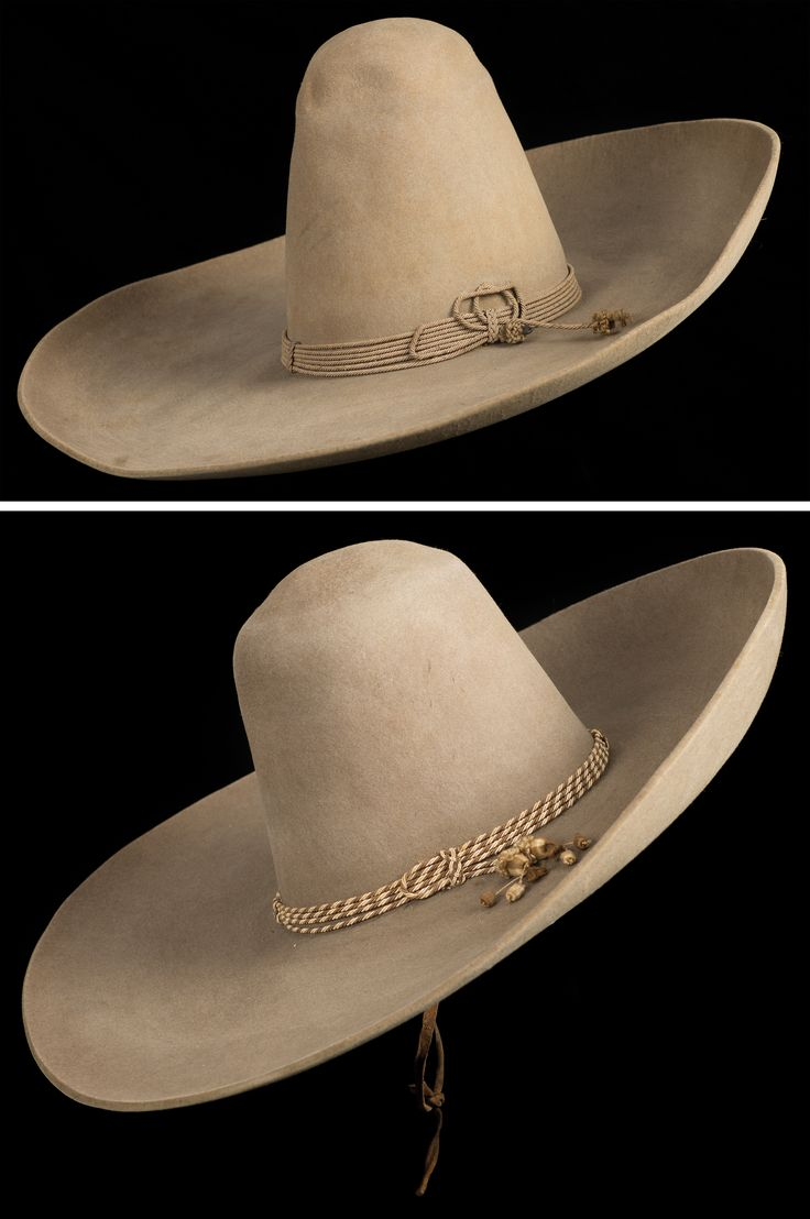 "Pair of Large Silverbelly Mexican Sombreros a) Heavy beaver Mexican hat with a 7 1/4"" brim, 9"" crown and tight braided 6 strand band. Fine condition, circa 1900.  b) A classic ""Torro"" sombrero with marked sweat band, 6 1/2"" brim, 7 3/4"" crown and 2 tone cotton band, fine condition, circa 1915."