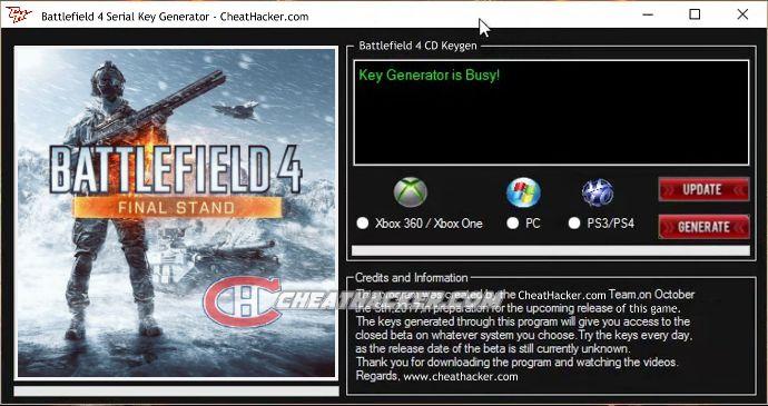 Battlefield 4 Serial Key Generator No Survey 2018 Free Download http://www.cheathacker.com/battlefield-4-serial-key-generator/