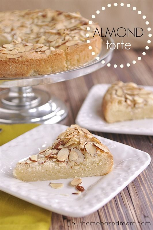 This delciious, moist, almond torte is perfect as a brunch/breakfast treat or dessert or anytime!