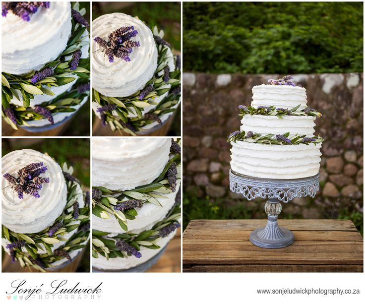 Buttercream rough finish three tier wedding cake decorated with lavender and olive leafs.  Perfect for a Greek wedding.