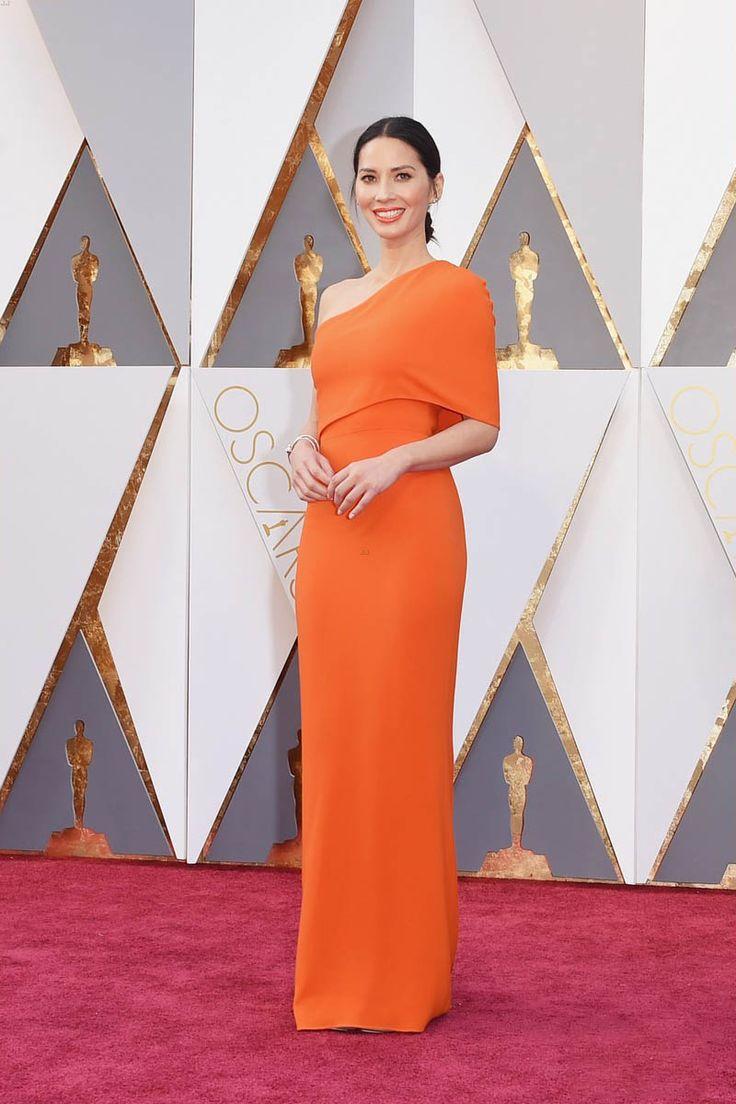 Olivia Munn Elegant One Shoulder Orange Evening Dress Oscars 2016 Red Carpet