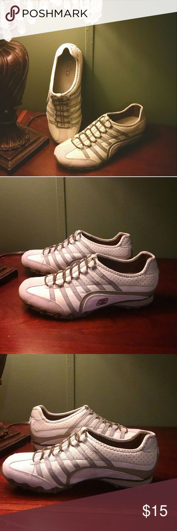 Skechers Slip On These cute Skechers slip on shoes are a size 8 and made of real leather. They have only been worn one time and are in excellent condition! Super comfortable and have great support. Skechers Shoes Sneakers