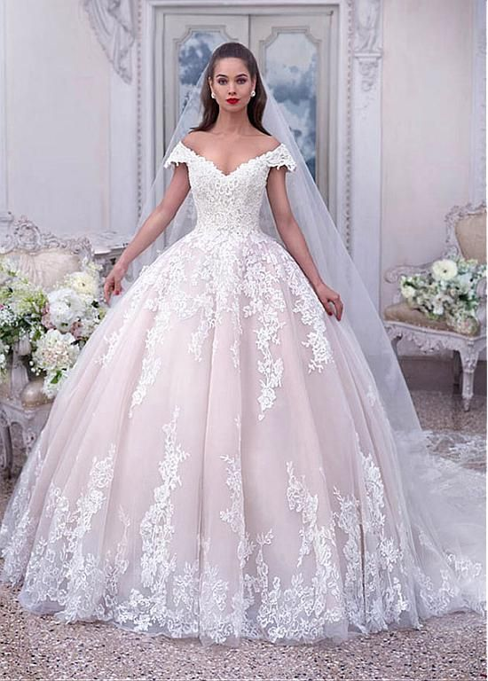 Magbridal Eye-catching Tulle Off-the-shoulder Neckline Ball Gown Wedding Dresses With Beaded Lace Appliques