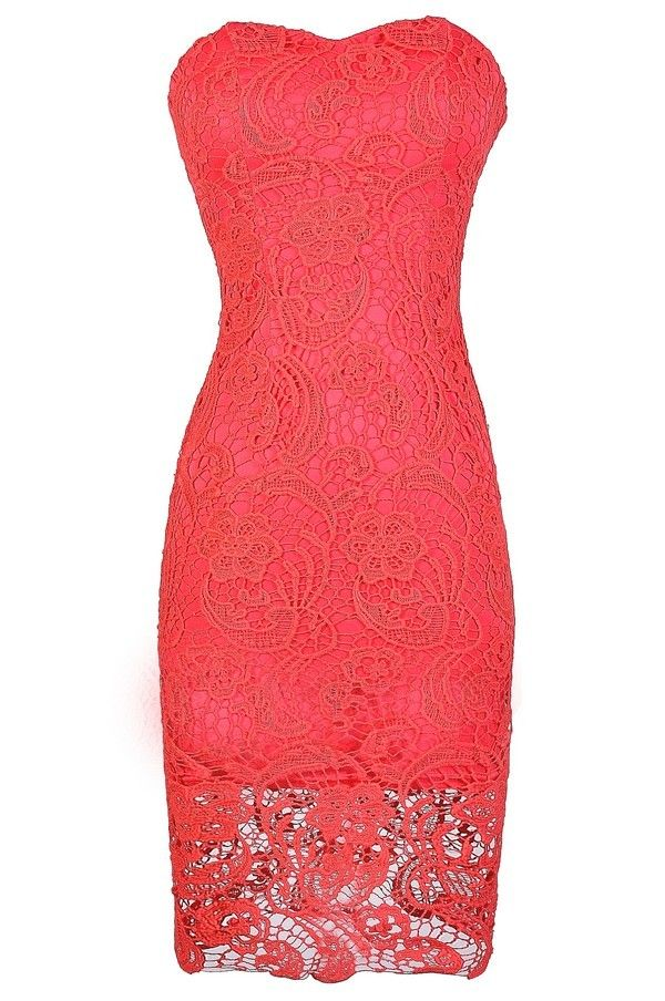 Crochet With Me Strapless Crochet Lace Dress in Coral  www.lilyboutique.com