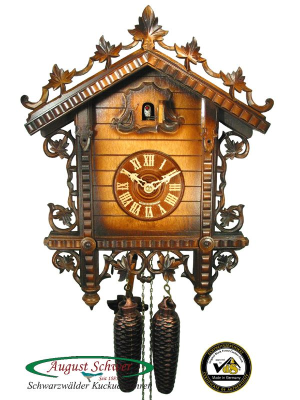 Cuckoo clock from the Black Forest with certificate of authenticity. Classical train station cuckoo clock with 8 day movement from the cuckoo clock manufacturer August Schwer.