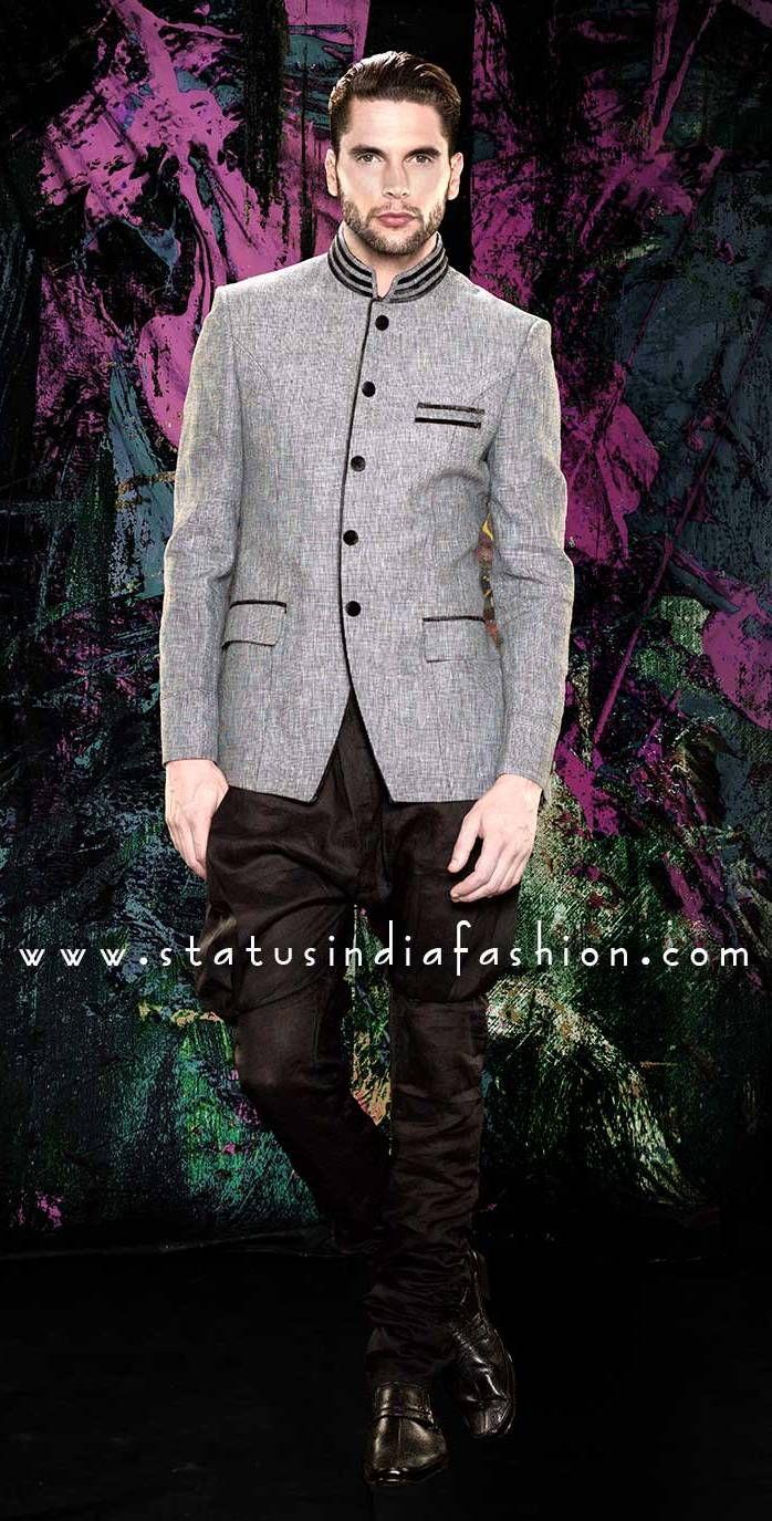 Mens Jodhpuri, Jodhpuri, Grey Jodhpuri, Designer Jodhpuri www.statusindiafashion.com