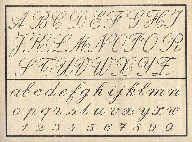 Vintage cursive alphabet~Unfortunately, Children do Not Learn this in School Anymore. No Penmanship Classes in Schools.