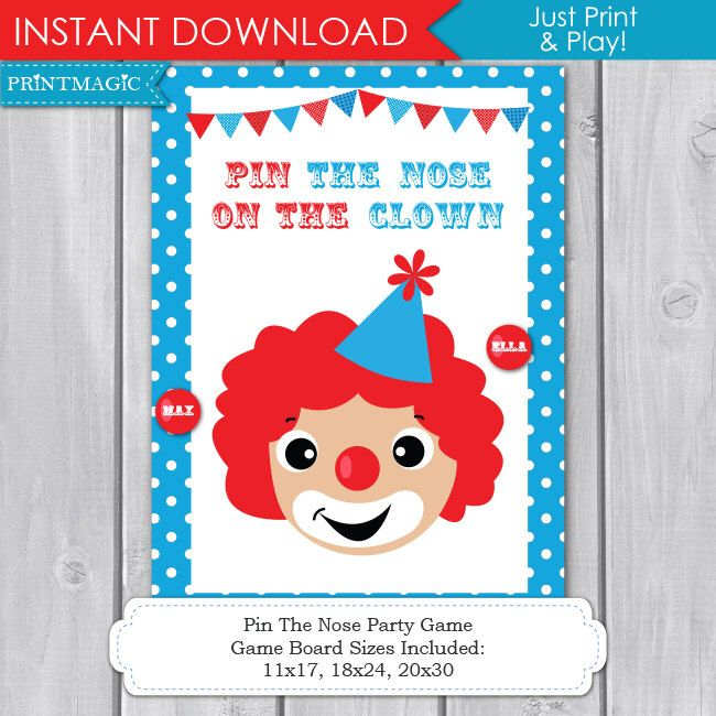 Pin the Nose on the Clown Printable Party Game - Circus Birthday Party Game - Clown Party Game - Circus Party Activity - Instant Download by printmagic on Etsy https://www.etsy.com/uk/listing/197664077/pin-the-nose-on-the-clown-printable