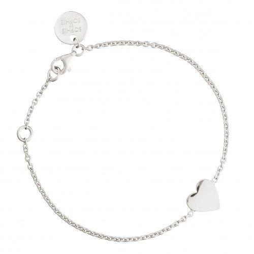 Heart bracelet in rhodium plated silver.
