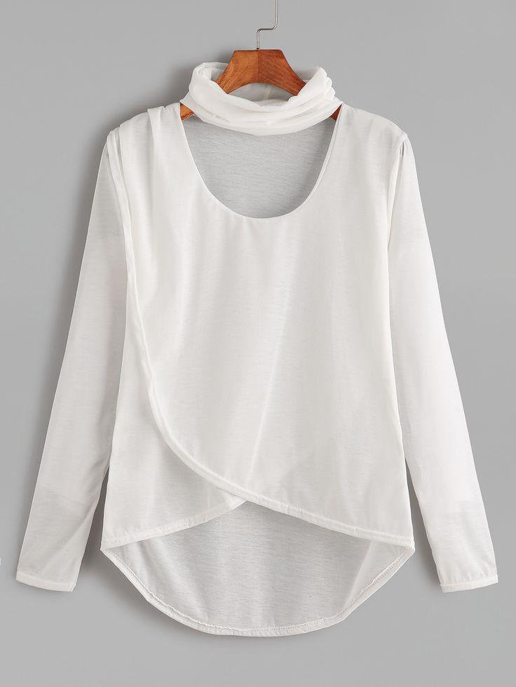 White Dip Hem Choker Neck Wrap Front T-shirt