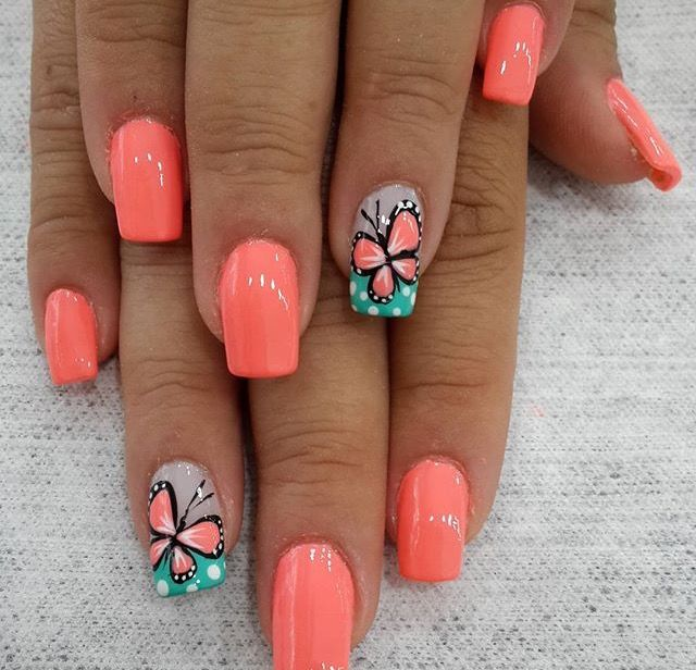 Nail shape & coral color, not the butterfly so much