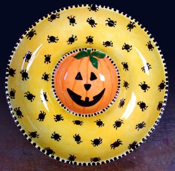 Pumpkin and spiders Chip and Dip platter painted for Halloween. Paint your own pottery.