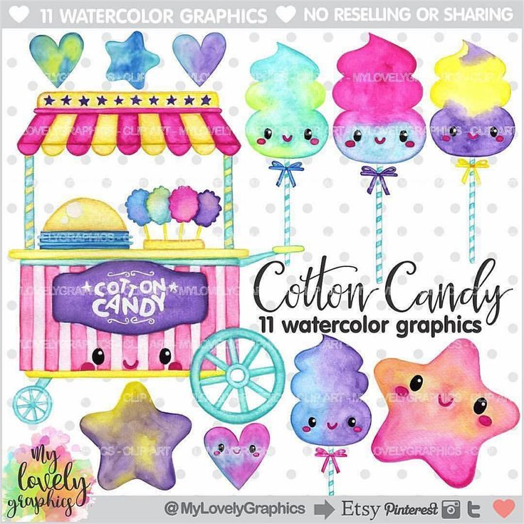 """""""Cotton Candy Clipart in Watercolor Style 💙 ....... 💟Personal and Small Commercial Use 💟 💜Find it: www.MyLovelyGraphics.Etsy.com #etsy #scrap #scrapbooking #scrapbook #party #partytime #partysupplies #partydecorations #planner #plannerlove #plannercommunity #plannergoodies #happyplanner #kawaii #planners #plannergeek #plannergirl #planneraddict #planneraccessories #plannerjunkie #planwithme #makingcards #cardmaking #clipart #graphicdesign #graphic #watercolor"""