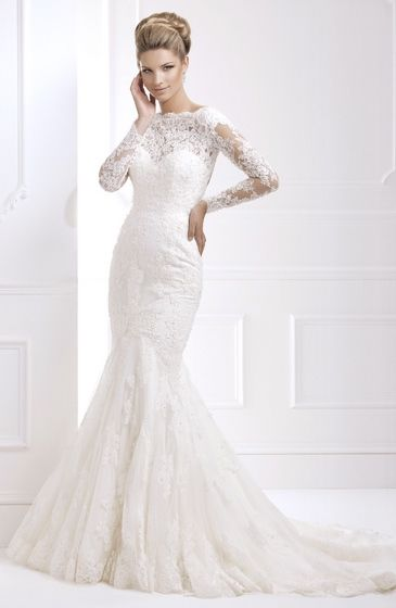 Style:11368 Fitted fishtail gown lace, sheer sleeves keyhole back
